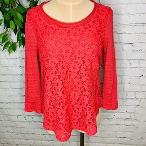 One September Anthro Lace Floral 3/4 Sleeve Top SM